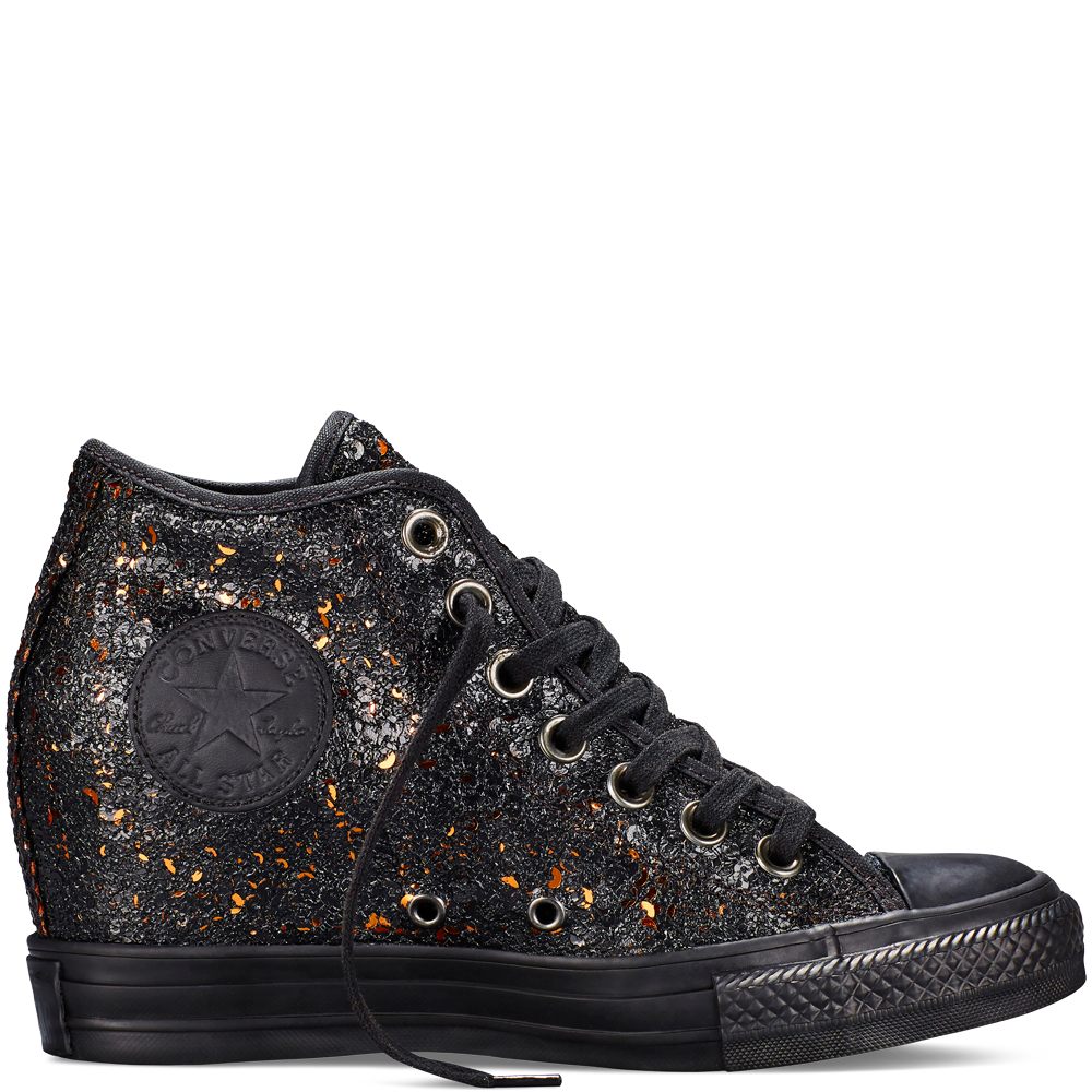 Converse Chuck Taylor All Star Lux Wedge Sequins Női Cipő Fekete (551557C)