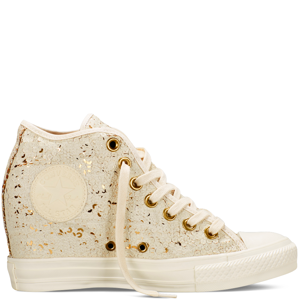 Converse Chuck Taylor All Star Lux Wedge Sequins Női Cipő Bézs (551556C)