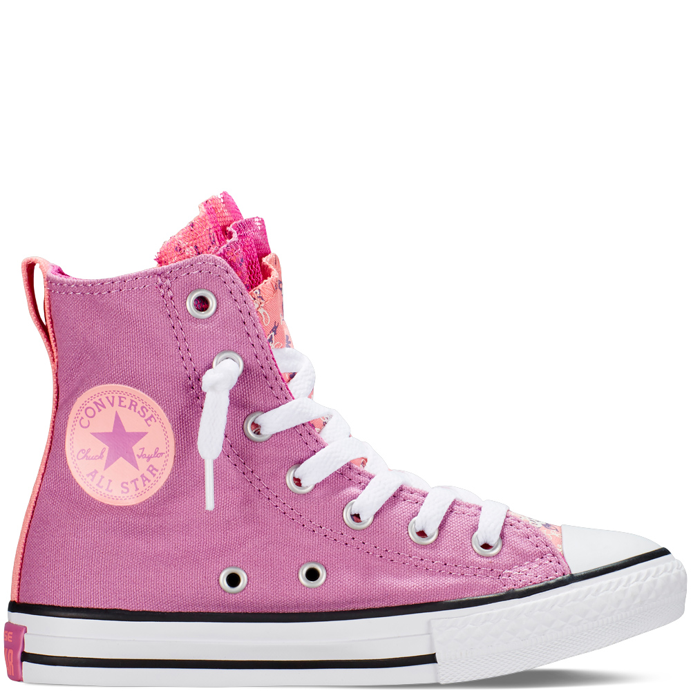 Magasszárú Converse Chuck Taylor All Star Flower Party Gyerek Cipő Lila (651715F)